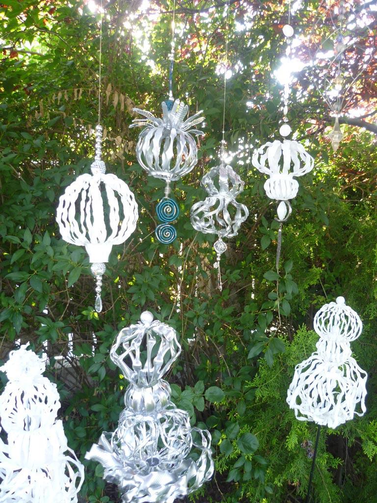 Kunsthandwerk, Basteln, PET Recycling, Gartendeko